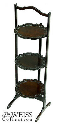 SWC-A Solid Mahogany Three-shelf Dish Stand, 19th c