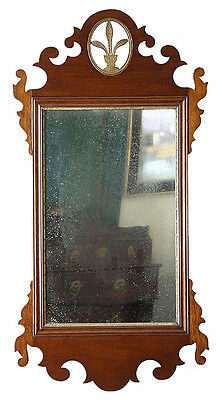 SWC-A Mahogany Carved Chippendale Mirror with Gilt Urn,
