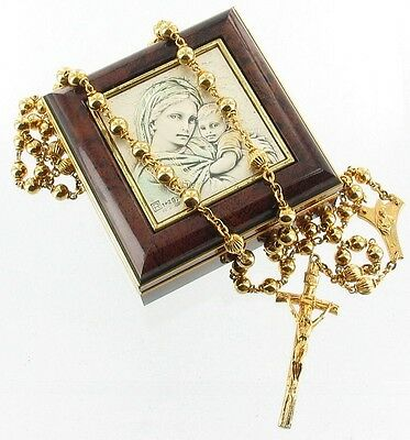 Vintage Sterling Madonna Child Gold Gilt Rosary Box Italy Christianity Religious