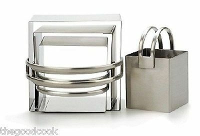 RSVP Set Of 4 Square NSF 18/10 Stainless Steel Nesting Biscuit Cookie Cutter New