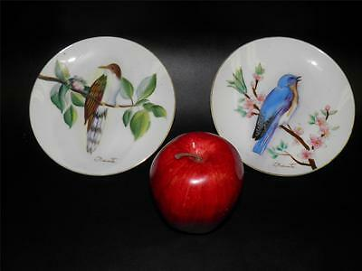 2 Antique Hand Painted Bird Plates Japan Artist Signed