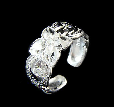 Sterling Silver 925 Hawaiian Plumeria Flower Scroll Toe Ring Cut Out Edge 8Mm
