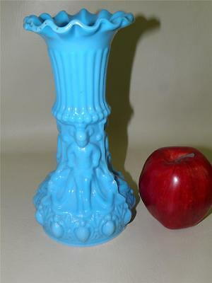 Opaque Turquoise Blue Figural EAPG Antique Glass Vase
