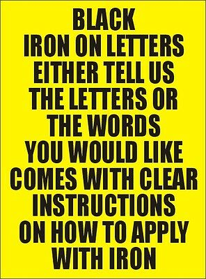 One Inch Black  Iron On Characters - Letters or Numbers Vinyl Printing