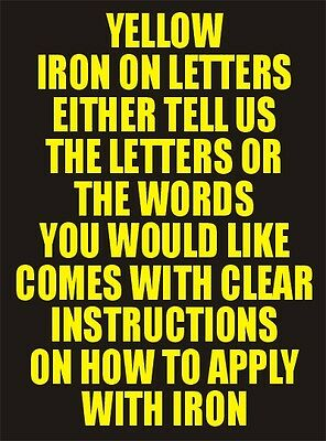 One Inch Yellow Iron On Characters - Letters or Numbers Vinyl Printing