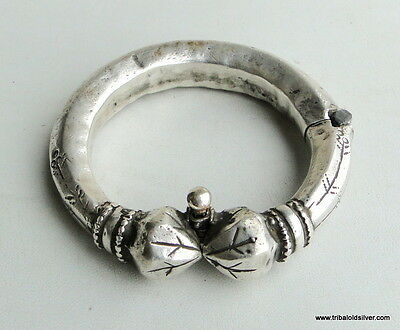 Rare!! Antique Collectible Ethnic Tribal Old Silver Hinge Bracelet Bangle India