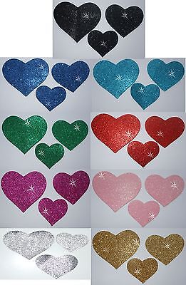 Fabric Glitter 3 Heart Iron-On Hotfix Dance Costume Tshirt Dress Transfer Patch