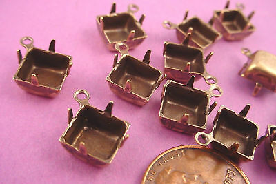Brass Ox Square Pronged Settings 8mm Drops CB