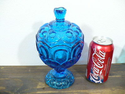 "MOON & STARS COLONIAL BLUE COVERED CANDY BOWL 8"" TALL"
