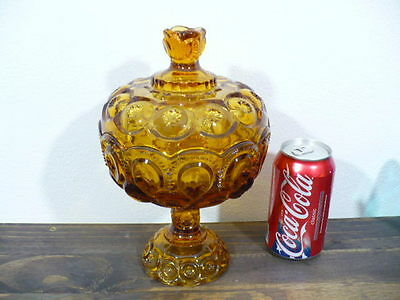 """MOON & STARS HUGE AMBER COVERED CANDY BOWL 9-1/2"""""""