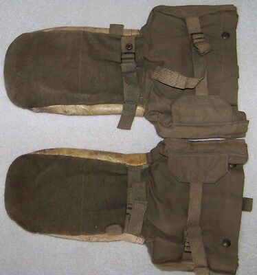 WWII Military OD & Leather Extreme Cold Weather Gloves Mittens