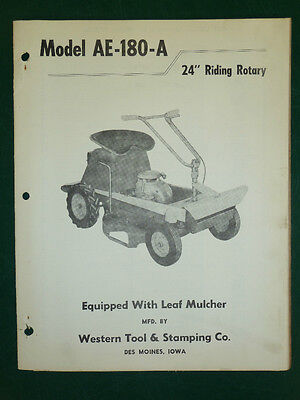 """Western Tool 24"""" Riding Rotary Mower Parts Manual Model: Ae-180-A"""