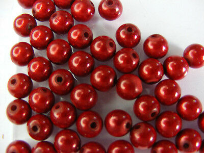 50 PERLES MIRAGE /MIRACLE /MAGIQUE 8mm ROUGE    A141