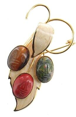 Vintage Red Agate Tiger's Eye Carnelian Enamel Scarab Pin Brooch
