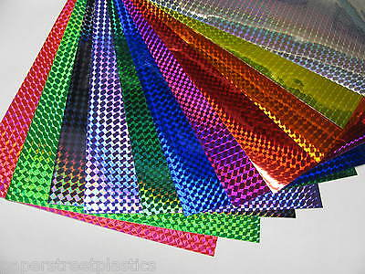 "Any  3 colors, Holographic 1/4"" Mosaic Prism Sign Vinyl 8 x12 Inch Sheets"