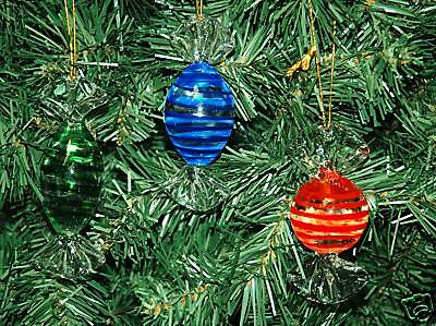 Set of 3 Glass Candy Christmas Ornaments