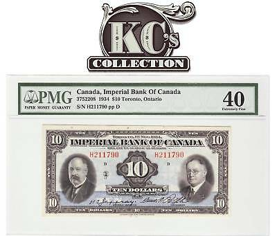 """1934 Imperial Bank of Canada """"Toronto"""" $10 PMG EF40"""