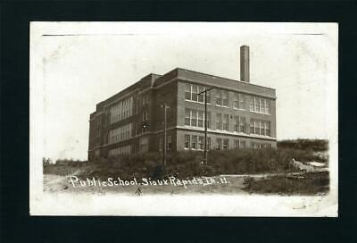 Sioux Rapids Iowa 1913 RPPC Old Public School Building on Hill