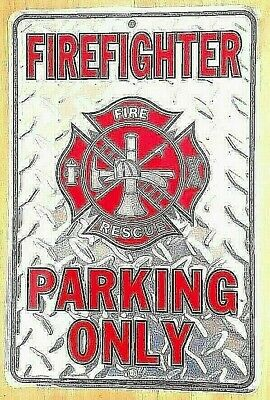 """FIREFIGHTER PARKING ONLY Silver Diamond Plate Metal PARKING SIGN -  8"""" x 12"""""""