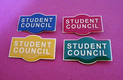 STUDENT COUNCIL Badge Blue Red Green Or Yellow Pin