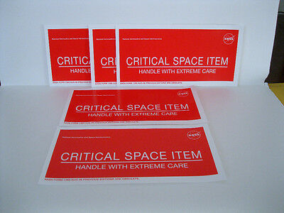 "New Lot of 10 NASA Critical Space Item Adhesive Label Labels 8"" x 4"""