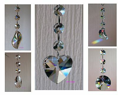 Hanging Crystal Drop with Swarovski Octagons Suncatcher Feng Shui Rainbow Prism
