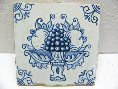 Beautiful Antique Old Used Delft Blue Tile Vintage Dutch Holland Hand Painted