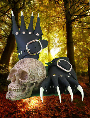Glow-in-the-Dark Claw Gauntlets Goth Renaissance Gloves