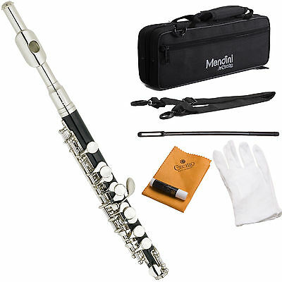 Mendini C Piccolo Ebonite ABS Body w/ Nickel Head Joint & Keys +Case+Care Kit