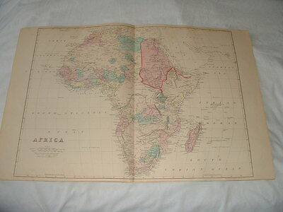 ANTIQUE 1881 MAP OF AFRICA. by S. AUGUSTUS MITCHELL