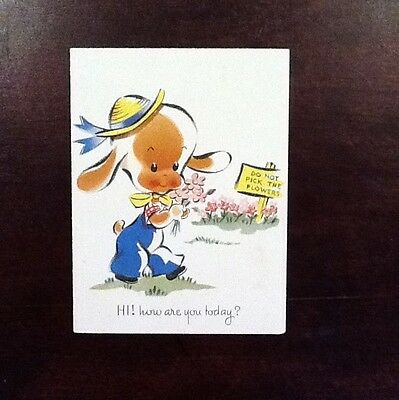 #C411- Vintage Hobby USA Get Well Greeting Card Adorable Dog Picking Flowers