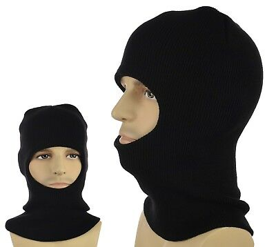Balaclava Beanie Hat Hood Knitted Hunting Skiing Fishing Black Open Face Mask