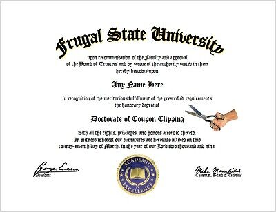 Coupon Clipping Diploma - Frugal Coupon Clipper Lovr Certificate Unique Fun Gift