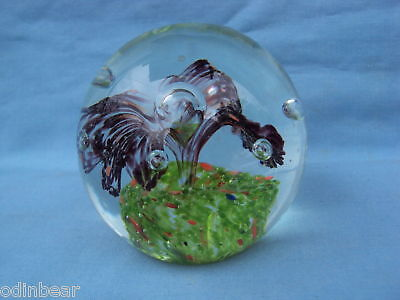 GLASS PAPERWEIGHT w/ FLOWER GEYSER in POT BUBBLES
