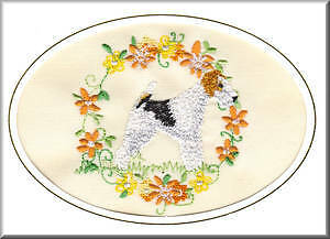 Smooth Haired Fox Terrier Birthday Card or Notecard Embroidered by Dogmania