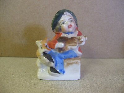 Vintage Occupied Japan Figurine : Little boy with guitar & puppy : Cute!