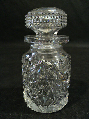 Fabulous Abp Antique Small Cut Crystal Condiment Jar With Stopper Top