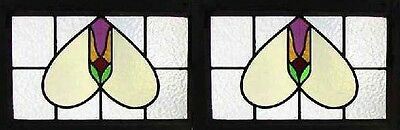 Art Deco Pair English Stained Glass Windows Original Frames