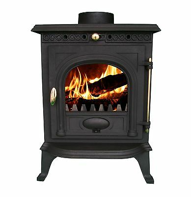 NEW Cast Iron Log Burner MultiFuel Wood Burning 6 kw Stove WoodBurner JA014
