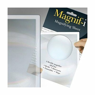 Magnifying Sheet Magnifier Reading Aid Page Large Book Magnif-I 19cm x 13cm