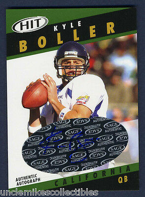 KYLE BOLLER AUTOGRAPED ROOKIE CARD: 2003 SAGE HIT (#A7)
