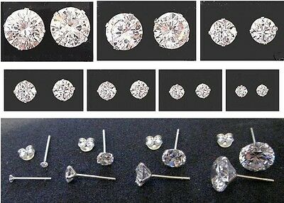 Sterling Silver - Cubic Zirconia - Stud Earrings - BOXED  Choose: 2mm up to 10mm