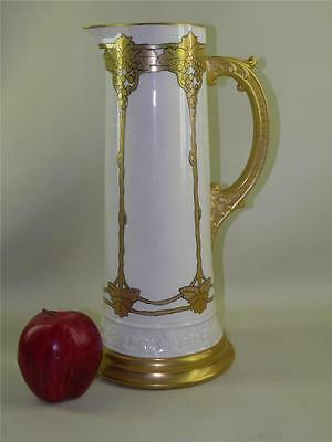 Antique Lenox Belleek Arts & Crafts-Gold Gilded Pitcher Vase 14''high