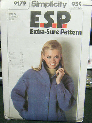 Simplicity E.S.P. 9179 Misses Unlined Jacket Pattern - Size 12/14/16