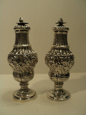STUNNING PAIR ENGLISH STERLING SILVER REPOUSSE SUGAR CASTOR SHAKERS c. 1816-17
