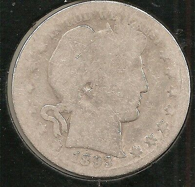1893-S ABOUT GOOD Barber Half Dollar - KEY DATE! Clear date & mint mark