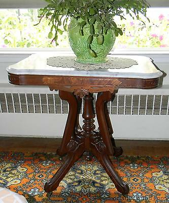 Beautiful Antique Victorian Decorative Carved Walnut Marble-Top Lamp Table