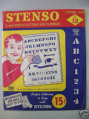 Vintage Stenso Letters & Numbers Kit No 12