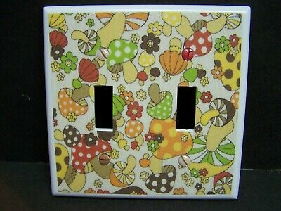 Vintage Print Retro 70's Mushroom Toadstool  Light Switch Cover Plate