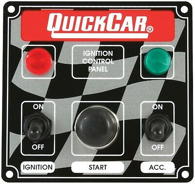 QuickCar 50-022 Ignition Control Panel 2 Switch w/ Lights Starter Button Swithes